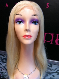 "Lace Front Wig Russian Platinum Blonde Straight 20"" W/O ROOTS"