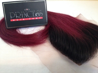 "Russian Red Luxe Straight Closure 14""-16"" DARK ROOTS"