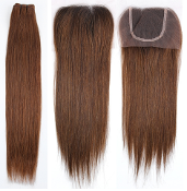 "Russian Dark Brown Straight Closure 14""-16"" DARK ROOTS"