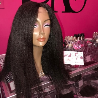 Mongolian Extra Kinky Straight Custom Wig Unit 22""
